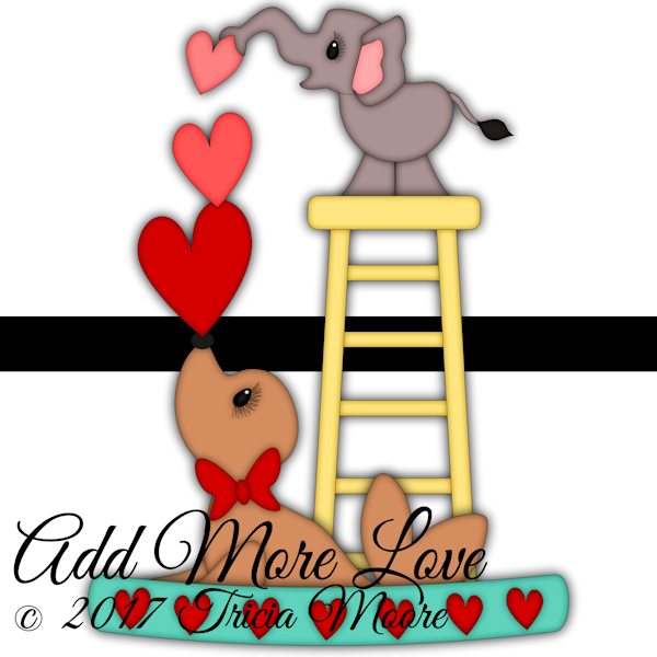add more love elephant hearts valentine's day seal circus clipart cut file digi stamp