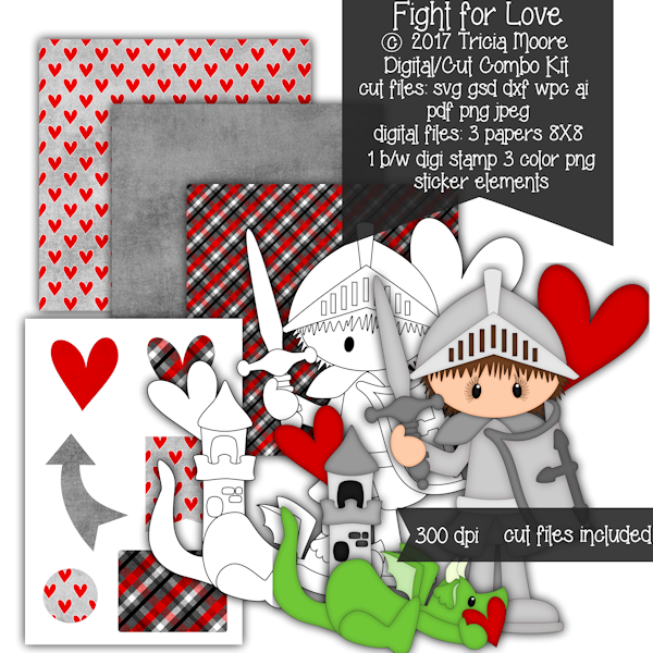 digital stamp digi stamp fight for love valentine's day cut file clipart knight dragon
