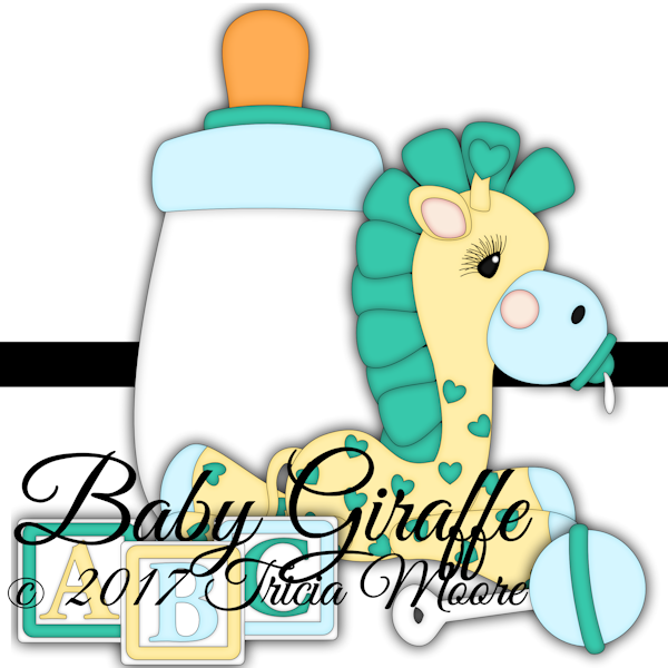 baby clipart giraffe bottle blocks pacifier digital paper piecing pattern cut file