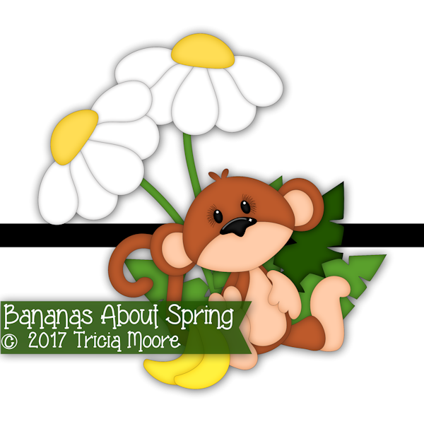 bananas about spring monkey clipart digi stamp digital daisies daisy flower pattern printable spring