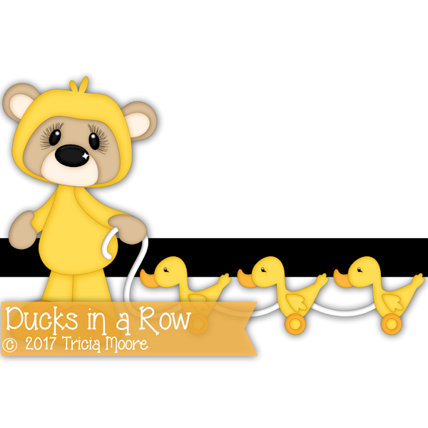 ducks in a row teddy bear digi stamp clipart toys cut file pattern