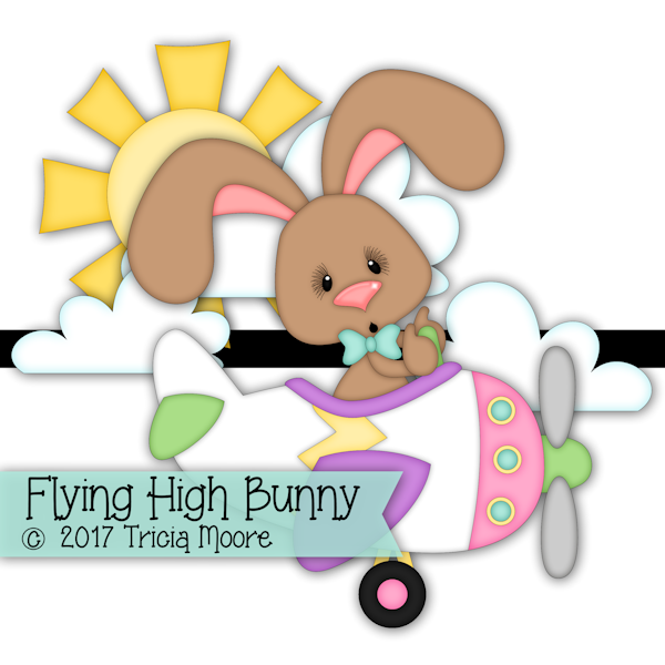 flying high bunny airplane plane rabbit easter clipart cut file digi stamp