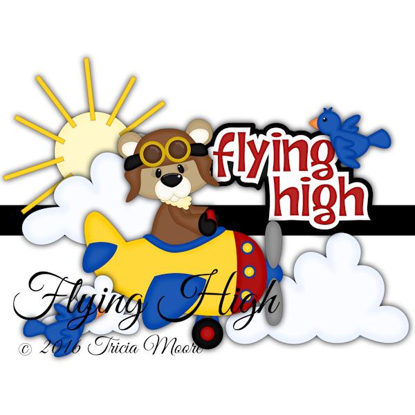 flying high bear bear sun clouds birds airplane clipart