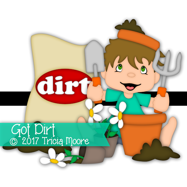 boy clipart digi stamp dirt planting flowers flower pot cut file digital