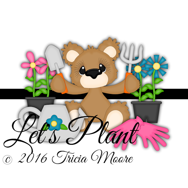 let's plant bear clipart flowers shovel pick