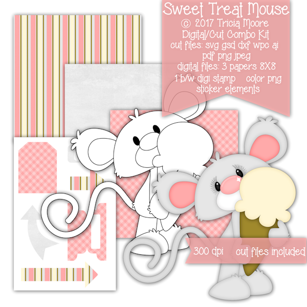 mouse ice cream cone spring summer digi stamp clipart pattern svg digital background