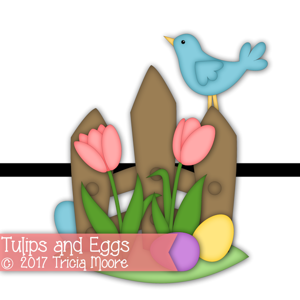 tulips eggs blue bird clipart digital digi stamp pattern svg cut file spring Easter