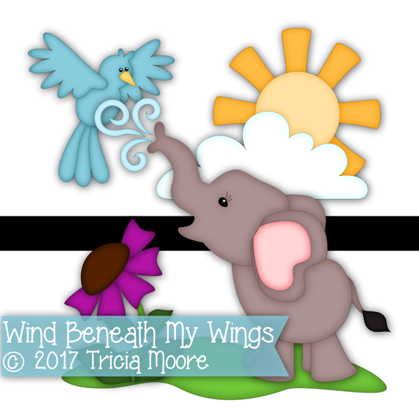 wind beneath my wings elephant digi stamp digital clipart cut file svg