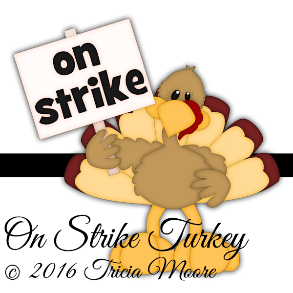 on strike turkey thanksgiving clipart digital digi stamp paper piecing pattern cut file