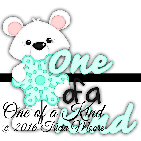 one of a kind digi stamp bear clipart cut file winter snowflake