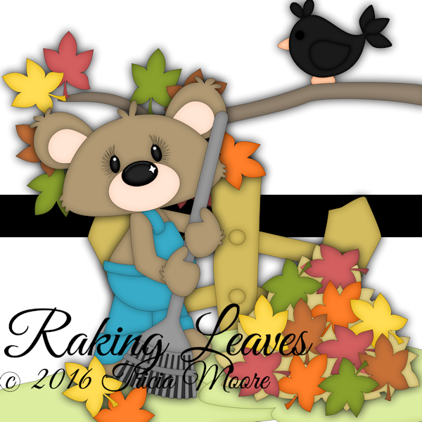 raking leaves fall bear clipart cut file