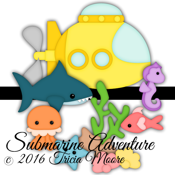 submarine adventures fish shark kawaii clipart svg cut file water underwater