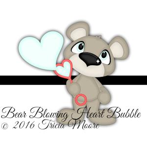 Bear Blowing Heart Bubble