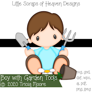 Boy with Garden Tools