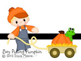 Boy Pulling Pumpkin