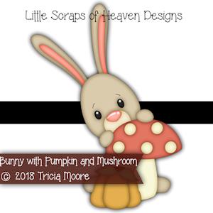 Bunny with Pumpkin and Mushroom