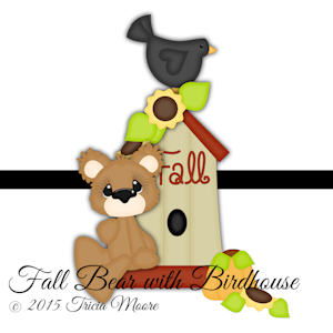 Fall Bear with Birdhouse