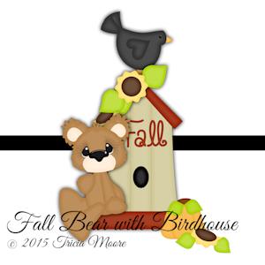 Fall Bear with Birdhouse