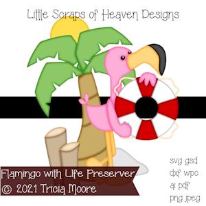 Flamingo with Life Preserver