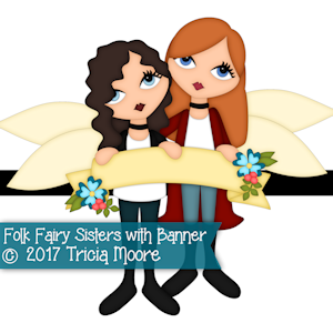 Folk Fairy Sisters with Banner