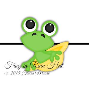 Frog in Rain Hat
