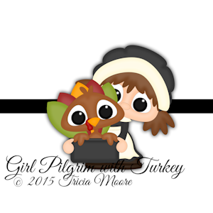 Girl Pilgrim with Turkey