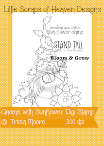 Gnome with Sunflower Digi Stamp