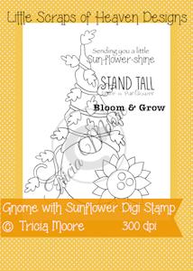 Gnome with Sunflower Digi Stamp