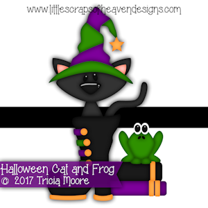 Halloween Cat and Frog