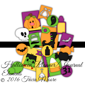 Halloween Planner and Journal Elements