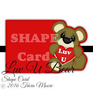 Shape Card Luv U Bear