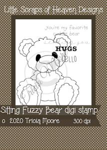 Sitting Fuzzy Bear Digi Stamp