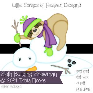 Sloth Building Snowman