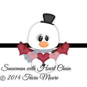 Snowman with Heart Chain